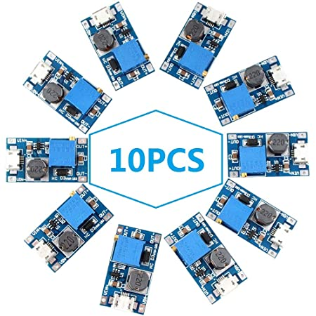 Eiechip dc to dc Step up Boost Converter, MT3608 with Mico USB, DC Voltage Regulator, Step Up Boost Converter Power Supply, Boost Module 2V-24V to 5V-28V 2A (Pack of 10)