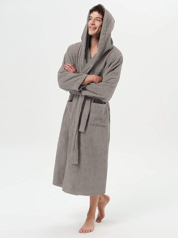 SIORO Mens Terry Cloth Robe Hooded Cotton Towel Bathrobe Long Soft Warm Spa Bath Loungewear
