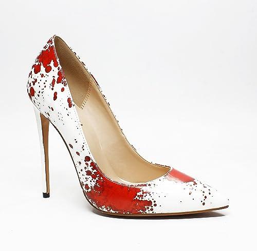 DYF Chaussures femmes nue, de pointes fines imprimer haut talon taille grande bouche peu profonde,la peinture rouge,36