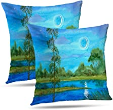 THEFLOWERSHAVE Standard Pillow Cases,Cotton and Ployster Blend Throw Pillow Covers,Watercolor Cushion Cover for Sofa Bed Home Car Set of 2 18x18 Inch,Watercolor