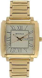 1586YM03 تيتان ريقاليا للرجال ، التقويم ، ستانلس ستيل ، وجه ذهبي ، ذهبي
