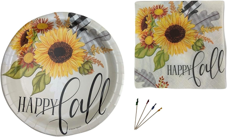 Fall Sunflower Big Party Supplies Includes Dessert unisex Set Appetizer Excellent