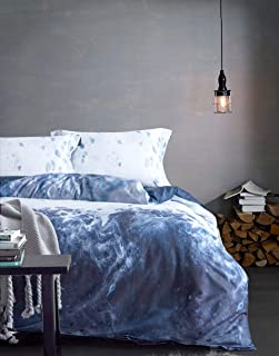 MILDLY King Duvet Cover Set Blue and White Marble Pattern 100% Egyptian Cotton Soft Breathable 3 Pieces Set with Pillow Shams Zipper Closure, Atum