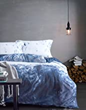 MILDLY Queen Duvet Cover Set Blue and White Marble Pattern 100% Egyptian Cotton Soft Breathable 3 Pieces Set with Pillow Shams Zipper Closure, Atum