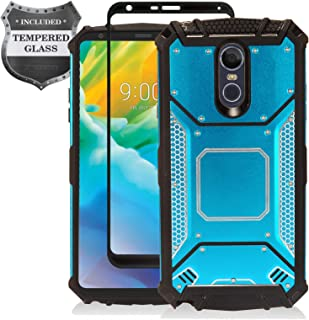Z-GEN - LG Stylo 4 (2018), Stylo4+ Plus, LM-Q710, LM-L713DL - Aluminum Metal Hybrid Phone Case + Tempered Glass Screen Protector - ZY1 Blue