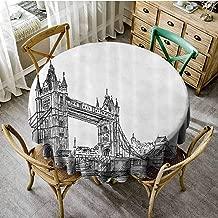 Playyee Patterned Round Tablecloth Vintage,Old Fashion London Tower Bridge Sketch Architecture British UK Scenery Art Print,Black White Picnic Cloth Diameter 36