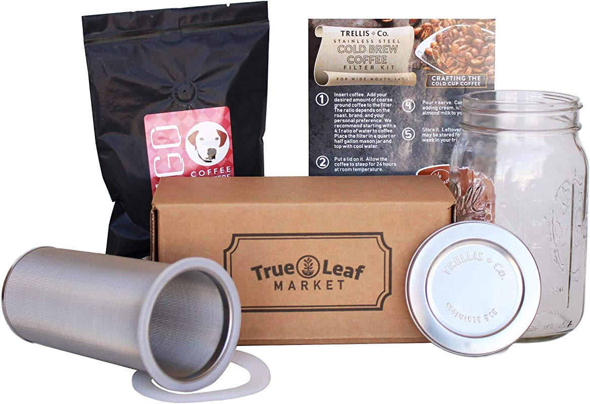 Trellis Co Cold Brew Coffee Maker Kit With Quart Mason Jar Stainless Steel Cold Brew Coffee Filter 80 Micron Mesh Includes Portable Stainless Steel Lid Hugo Dog Daze Cold Brew Coffee