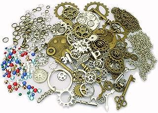 LolliBeads(TM)Antiqued Gold Bronze Silver Filigree Skeleton Keys Rhinestones Clockwork Gear Steampunk Statement Necklace DIY Kits(320pcs)
