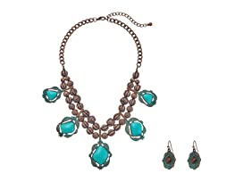 Hanging Turquoise Necklace/Earrings Set