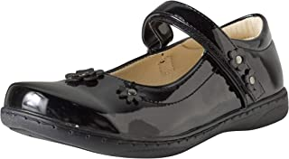 Easy Strider Girls Memory Foam School Uniform Shoes, Black Patent Flower, Size 7 Big Kid'