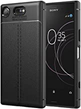 Sony Xperia XZ Case, PU leather Texture Flexible TPU Gel Bumper Cover Protective Shockproof Anti-scratch Back Cover Black