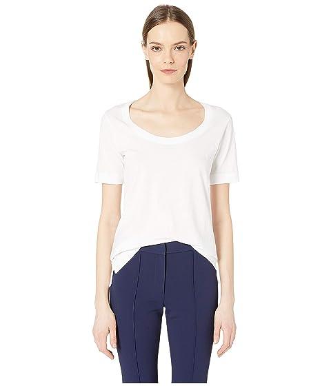 Adam Lippes Pima Cotton Open Neck Short Sleeve T-Shirt