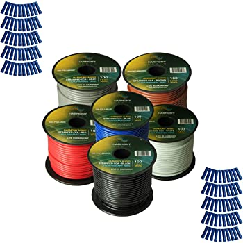 6 Color Mix for Car Audio//Trailer//Model Train//Remote 6 Rolls Harmony Audio Primary Single Conductor 16 Gauge Power or Ground Wire 600 Feet