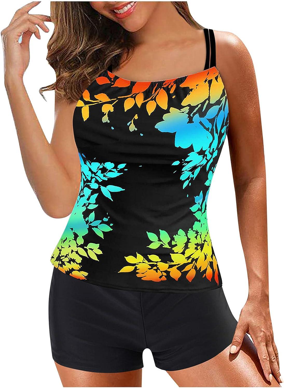 Tankini Swimsuits for Women Two Piece Swimsuit Sets Flowy Tankinis Plus Size Bathing Suit Summer Swimwear with Boyshort