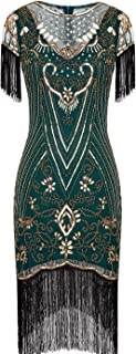 Women's 1920s Lace Neck Great Gatsby Dress Sequin Art Deco Flapper Dress with Sleeve D20S028