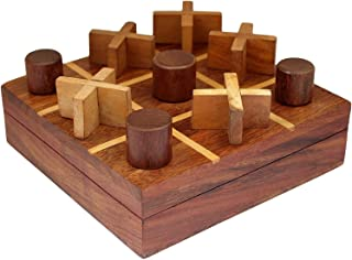 Aheli Hand Carved Wooden Tic Tac Toe Board Game Metal Nougats and Crosses Storage Box with Glass Lid Trvale-Friendly Indoo...