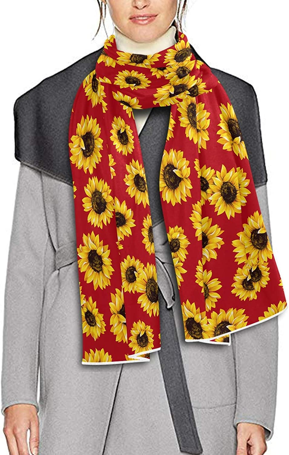 Scarf for Women and Men Vibrant Sunflower Red Background Blanket Shawl Scarves Wraps Soft Thick Winter Large Scarves Lightweight