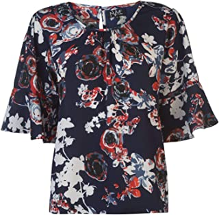 NVME Blair Floral Print T-Shirt Womens Navy Top Tee Shirt Casual Wear