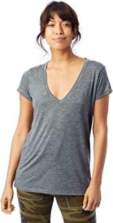 Alternative Women's Melange Burnout Jersey Slinky V-Neck Shirt