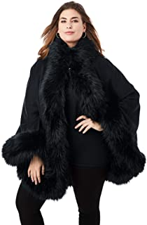 Jessica London Women's Plus Size Faux Fur Trim Cape