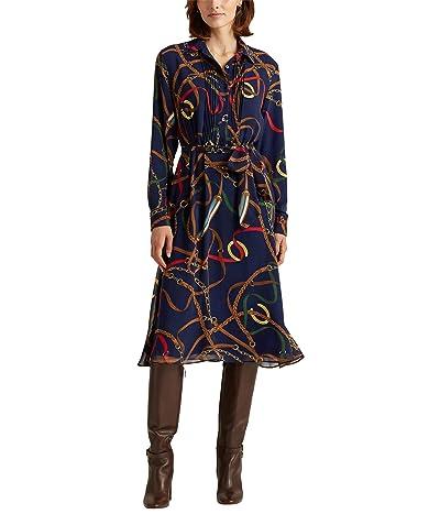 LAUREN Ralph Lauren Petite Print Georgette Shirtdress (Lauren Navy Multi) Women