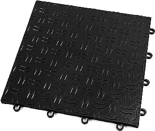 IncStores Diamond Grid-Loc Garage Flooring Snap Together Mat Drainage Tiles (48 Pack, Midnight Black)
