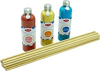 Hopser Food Fun Sucre pour barbe à papa 3 x 230 g pour machine à barbe à papa avec 50 bâtonnets (set 1 fraise, vanille, ch...