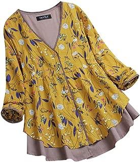 TOTOD Women Cotton Linen Tops Blouse 3/4 Long Sleeve Floral Plaid Print Loose Shirt Plus Size