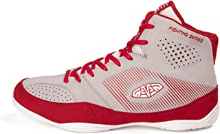 FJJLOVE Men's Wrestling Shoes, Boxers Trainers Shoes Non-Slip Rubber Sole Breathable Mesh Boxing Boots,Red,41