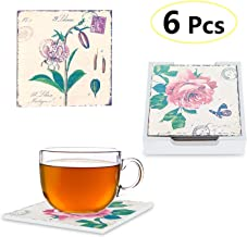 LoveHome Decor Coaster for Drinks Mats Set of 6,Square Retro Floral Wood Coasters Set with Holder, Heat-Resistant Reusable Saucers for Cold Drinks Wine Glasses Plants Cups & Mugs