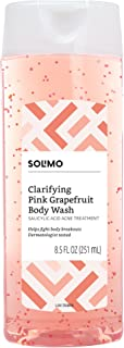 Amazon Brand - Solimo Clarifying Pink Grapefruit Body Wash, 2% Salicylic Acid Acne Treatment, Dermatologist Tested, 8.5 Fluid Ounces