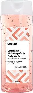 Amazon Brand - Solimo Clarifying Pink Grapefruit Body Wash, 2% Salicylic Acid Acne Treatment, Dermatologist Tested, 8.5 Fluid Ounces