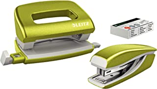 Leitz 55612064 Mini Stapler and Hole Punch Set, Staple or Punch Up to 10 Sheets, Includes P2 N°10 Staples, Wow Range, Meta...