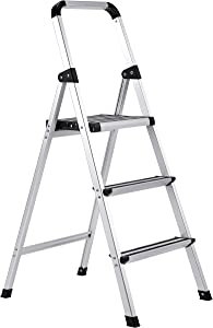 BirdRock Home 3-Step Aluminum Step Ladder - Sturdy Thin Folding Stool - 3 Anti-Slip Steps - Wide Platform - Great for Your Kitchen, Pantry, Closets, or Home Office - Modern Stool - Indoor - Silver