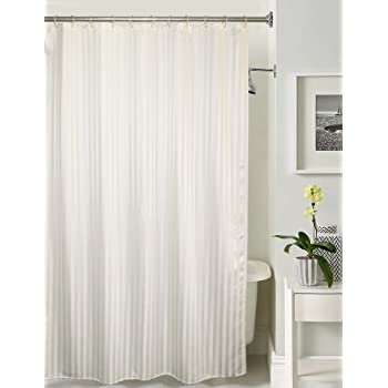 Lushomes Thick Striped White Water Repellent Shower Curtain With