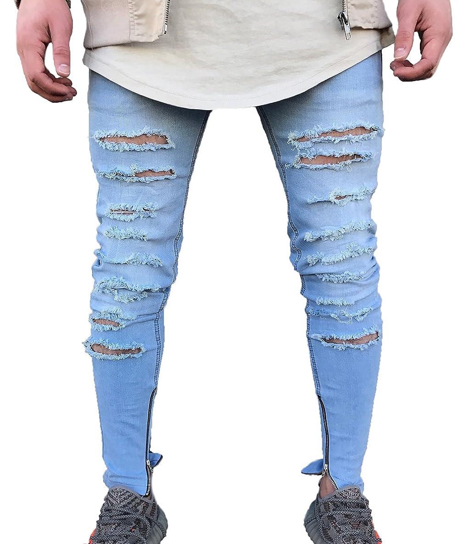 Men's Skinny Ripped Holes Jeans Zipper Denim Pants