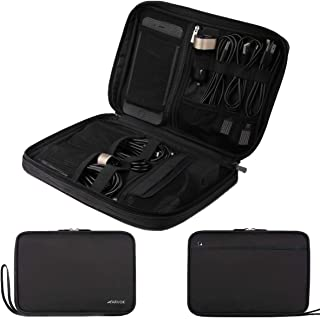 Arvok Electronics Organizer Travel Accessories Bag Kit/Water-Resistance Portable Gear Pouch Storage for Hard Drives/Cables/Chargers/Cards, Black