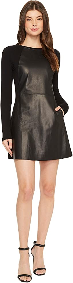 Michael Stars - Leather Mix Long Sleeve A-Line Mini Dress