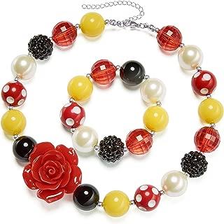 vcmart Rose Girls Cute Chunky Bubblegum Necklace and Bracelet Set Girls' Birthdays Day Gift