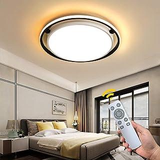 NEWSEE Lámpara LED de techo con mando a distancia, moderna lámpara de techo regulable, para salón, blanco frío hasta cálido, 60 W, para habitación infantil, comedor, dormitorio, pasillo (46 cm, 60 W)