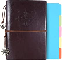 Leather Journal, Refillable Notebook Vintage Spiral Notepad Diary Travel Journal to Write in for Women Men with Lined Pages and Binder Index Dividers