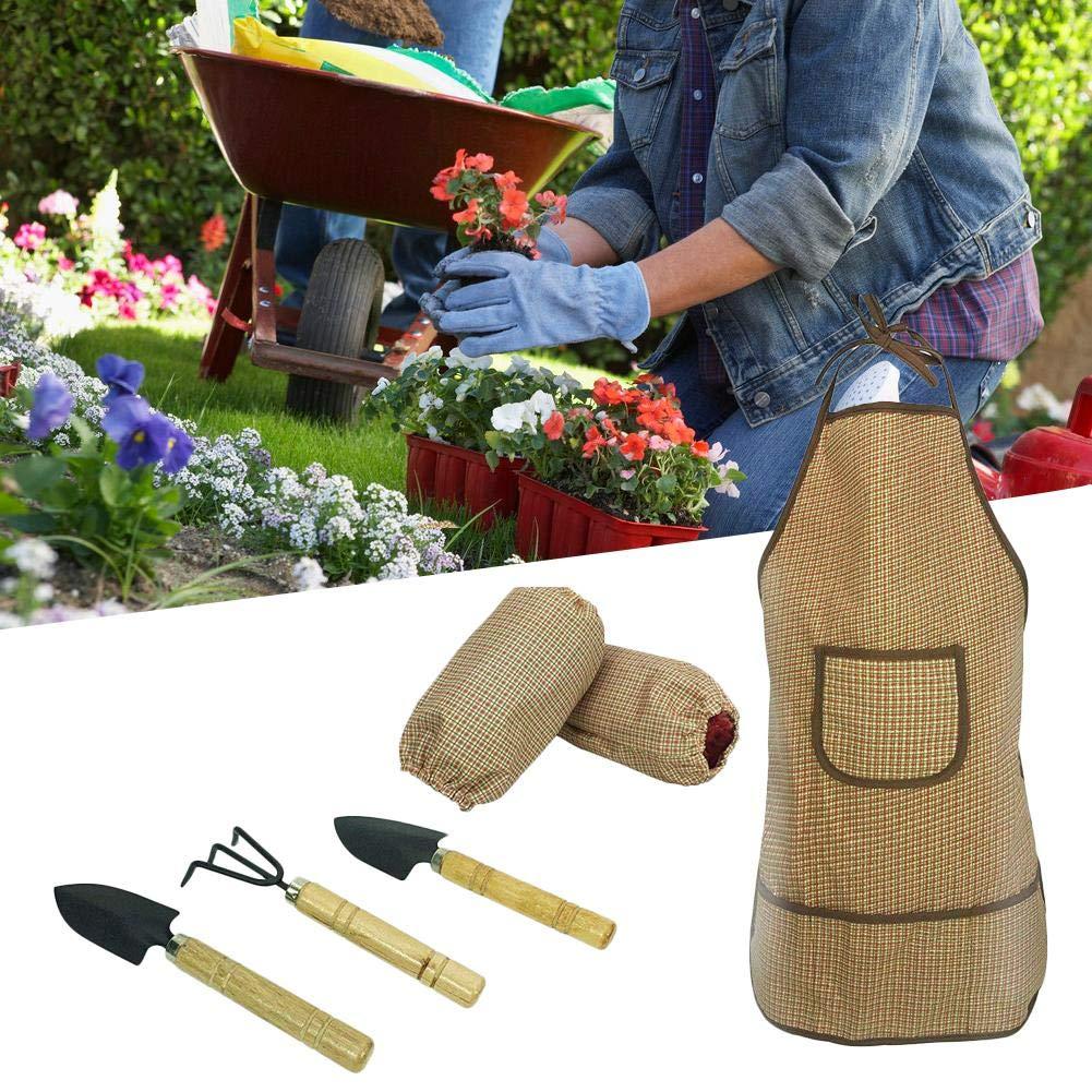 Activane Kit de Herramientas de jardín para niños con Delantal + Mangas + Herramienta de jardín 6 Piezas Kit de jardinería Impermeable Play Delantal Protección con Bolsillo Frontal para niño y niña: