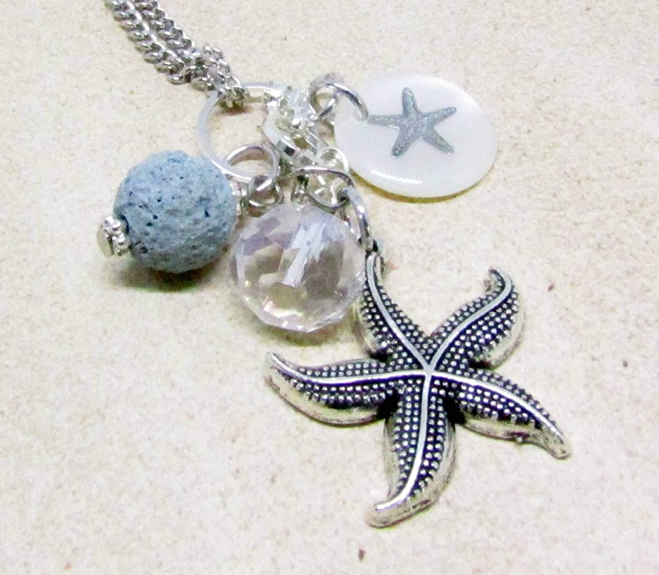 Starfish Rear View Mirror Car Charm, Essential Oil Diffuser, Crystal Car Diffuser, Car Accessory, Aromatherapy Rearview Mirror Charm