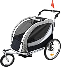 Best Clevr Deluxe 3-in-1 Double 2 Seat Bicycle Bike Trailer Jogger Stroller for Kids Children | Foldable Collapsible w/Pivot Front Wheel Review