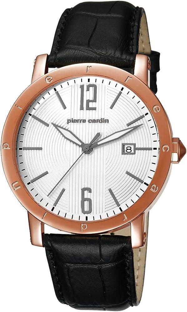 Pierre cardin,orologio per uomo,cassa in acciaio e cinturino in pelle PC105451F09