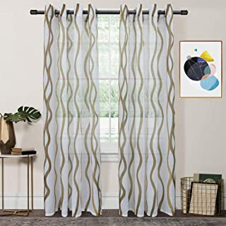 FY FIBER HOUSE Elegant Wave Print Woven Semi Sheer Curtains with Grommets Top, 2 Panels,54 by 63-Inch,White/Brown Wave