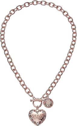 GUESS - Logo Heart Toggle Front Necklace