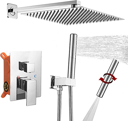BESy Shower System with 12 Inch Rain Shower Head and Handheld Wall Mounted, High Pressure Rainfall Shower Faucet Fixture Combo Set with 2 in 1 Handheld Showerhead for Bathroom, Polished Chrome