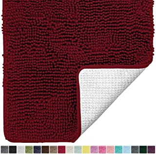 Gorilla Grip Original Luxury Chenille Bathroom Rug Mat, 70x24, Extra Soft and Absorbent Shaggy Rugs, Machine Wash and Dry, Perfect Plush Carpet Mats for Tub, Shower, and Bath Room, Burgundy