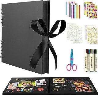 BOZHZO Album Photo Scrapbooking Traditionnel, 80 Pages Kit de Livre Photo Mémoire, 10 Couleurs Stylos Marqueurs et 8 Feuil...